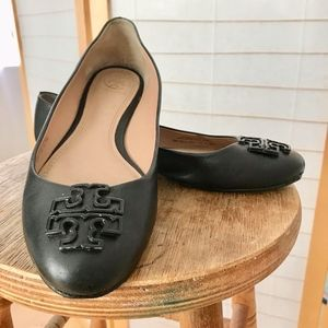 Tory Burch flats black leather double T ornament 8